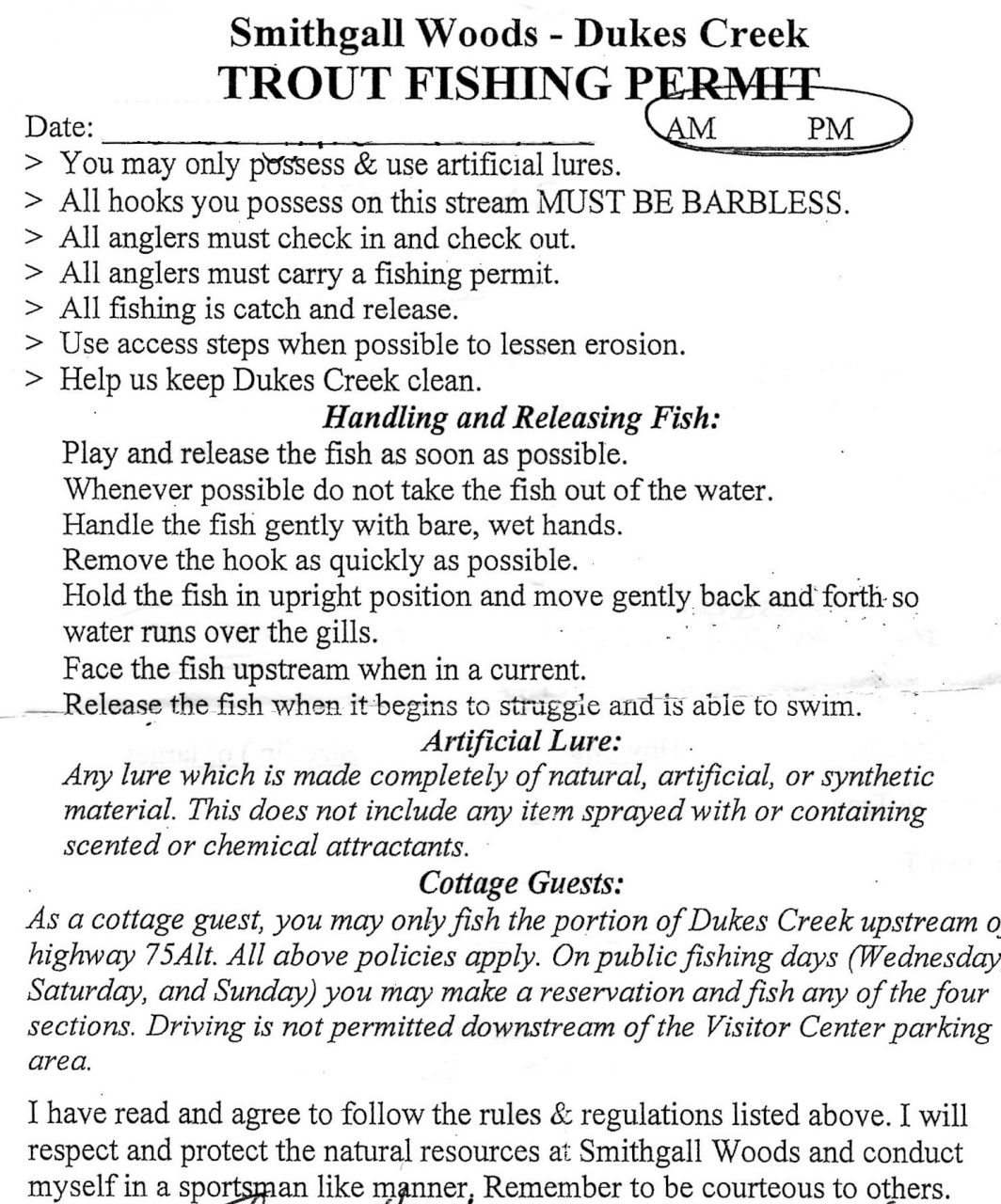 Dukes Creek Trout fishing permit